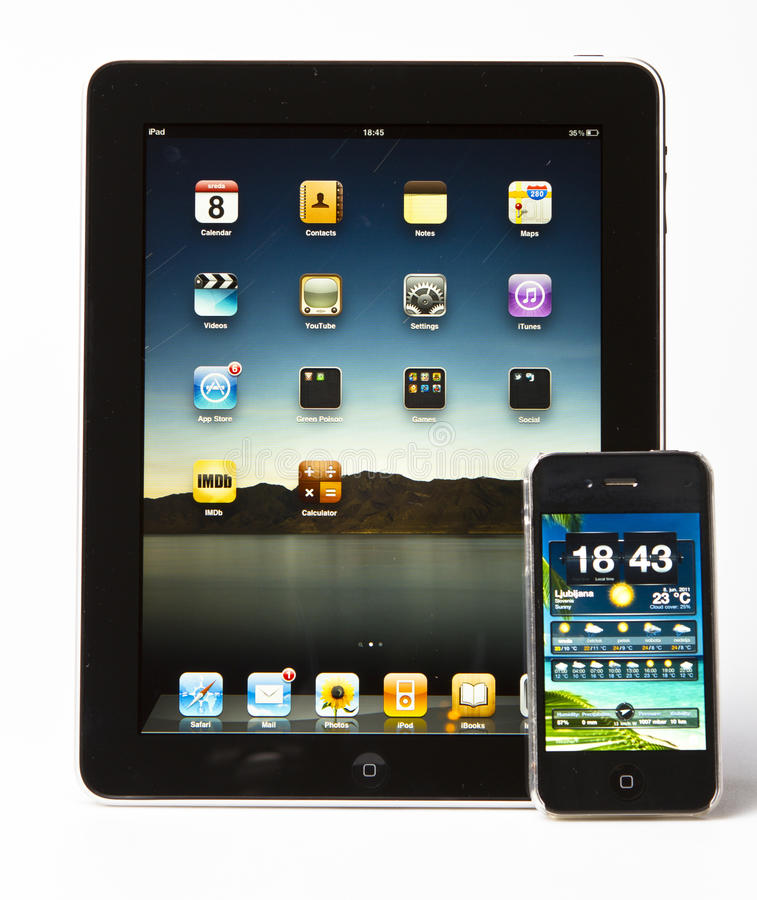 Ipad 3 d'Apple et iPhone 4S image stock