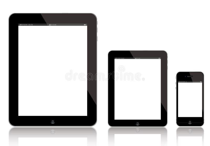 iPad 4, новое iPad миниое и iPhone иллюстрация вектора