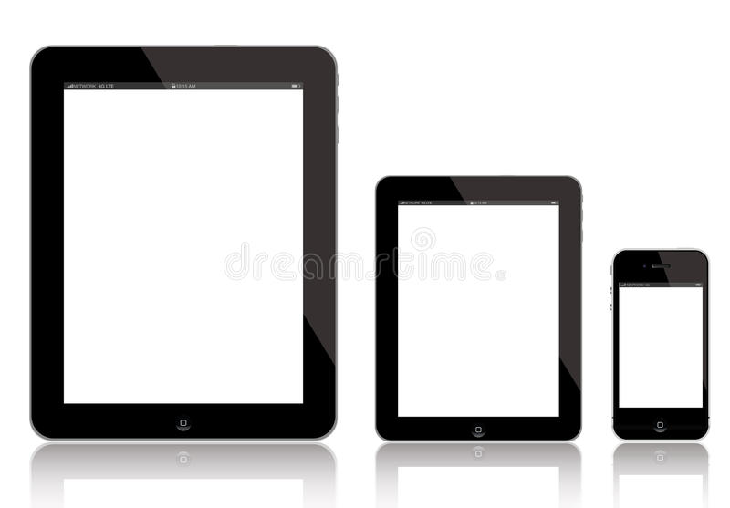 IPad AIR, new iPad Mini and iPhone. Illustration of New iPad AIR 4 (left), iPad Mini (middle) and iPhone 5 (right). Apple has released an iPad Mini to fend off