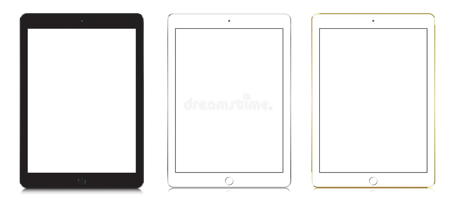 IPad Air 2 in black, white and gold color. royalty free illustration