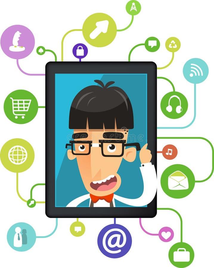 Ipad app del friki para los medios del social del empollón ilustración del vector