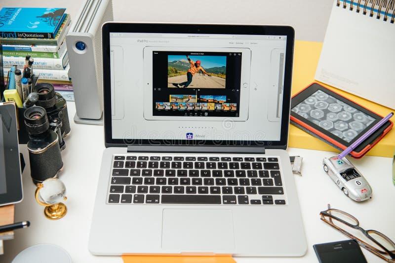 IPad d'ordinateurs Apple nouvel pro, iPhone 6s, 6s plus et Apple TV photographie stock libre de droits