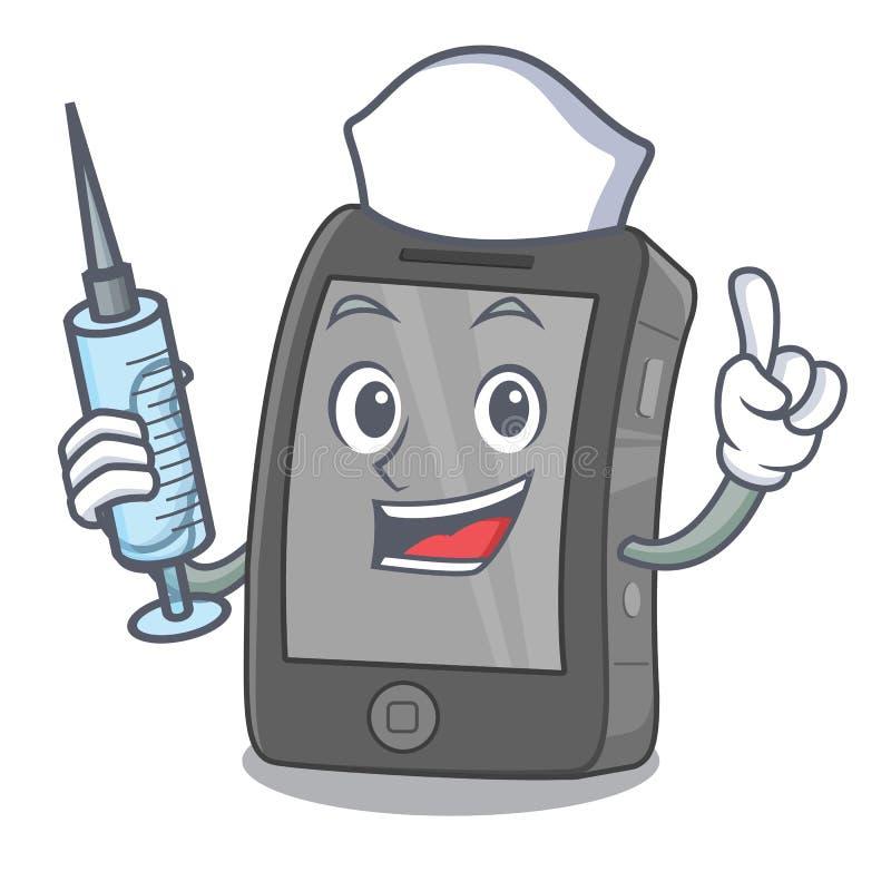 Ipad de la enfermera aislado con en el carácter stock de ilustración
