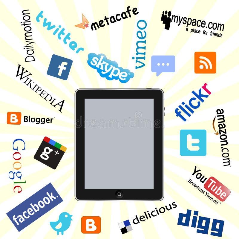Ipad e logotipos sociais da rede ilustração do vetor