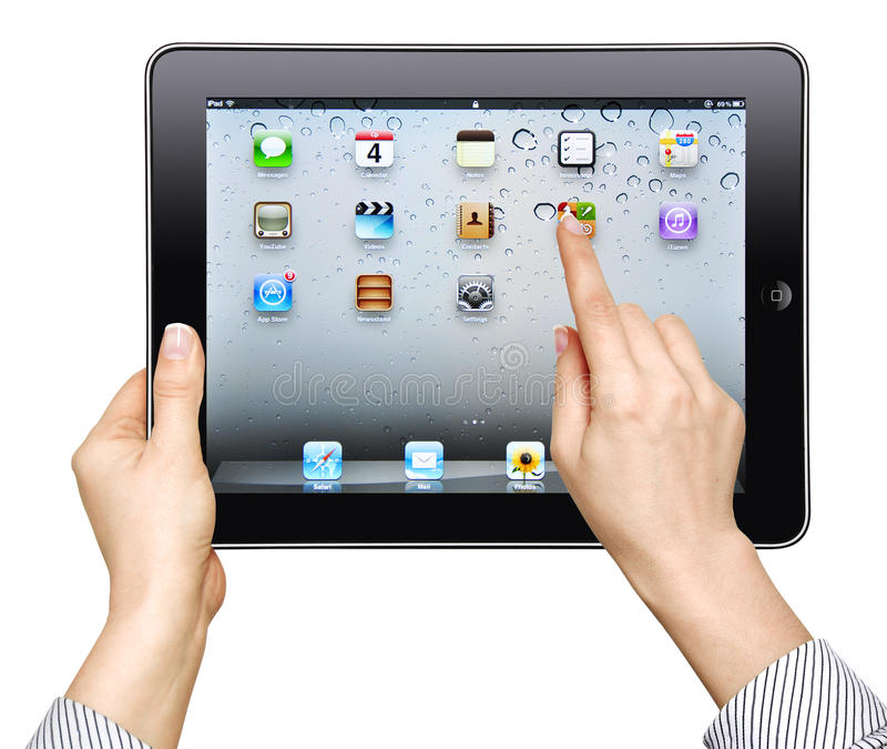 Download Ipad in female hand editorial photo. Image of tablet - 24459786