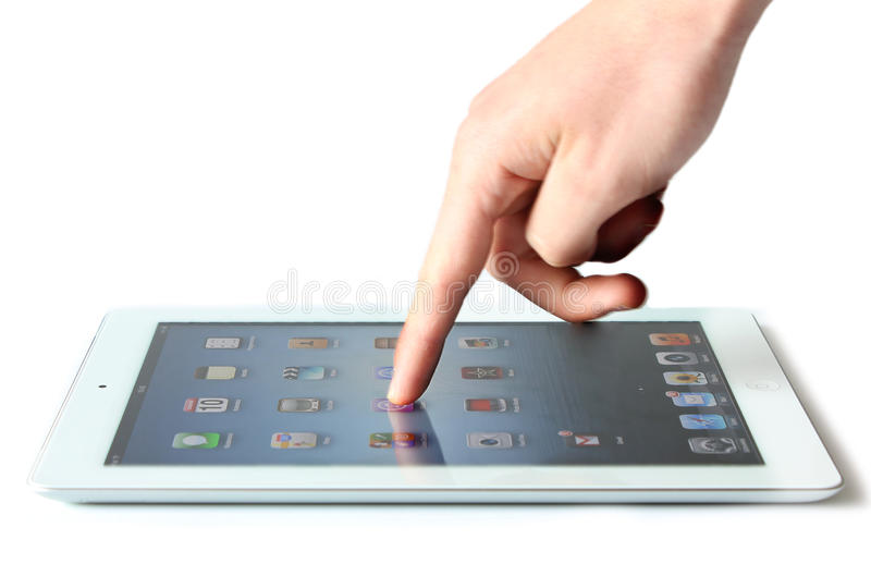 Ipad finger touch royalty free stock images