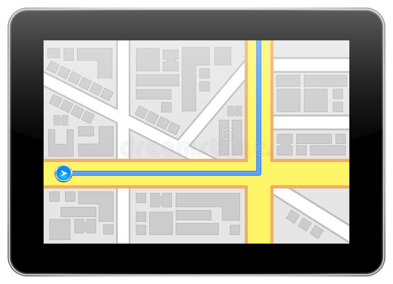 iPad Google Maps 库存例证