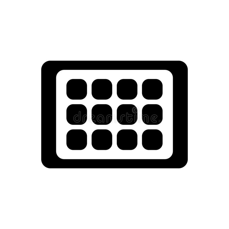 Black solid icon for tablet, android and gadget. Black solid icon for tablet, electronic, app, technology,  android and gadget stock illustration