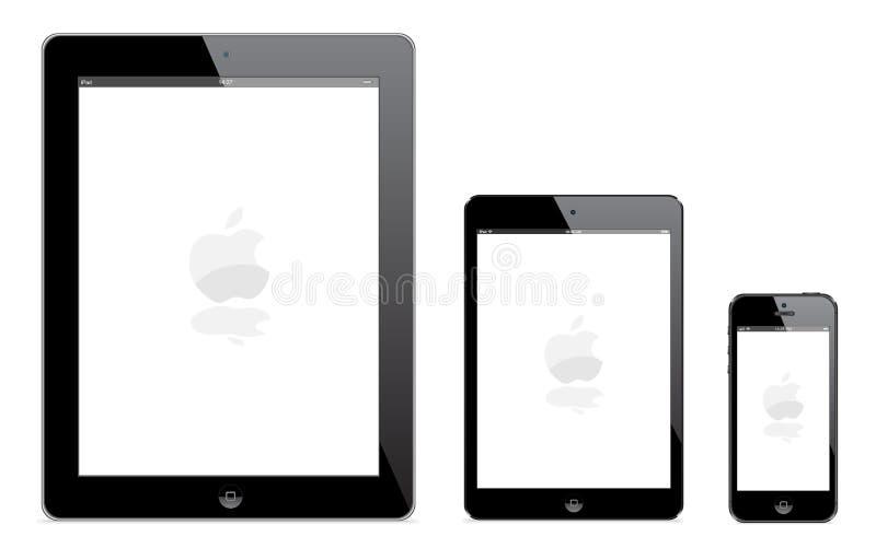 IPad 4, iPad novo mini e iPhone 5 ilustração stock