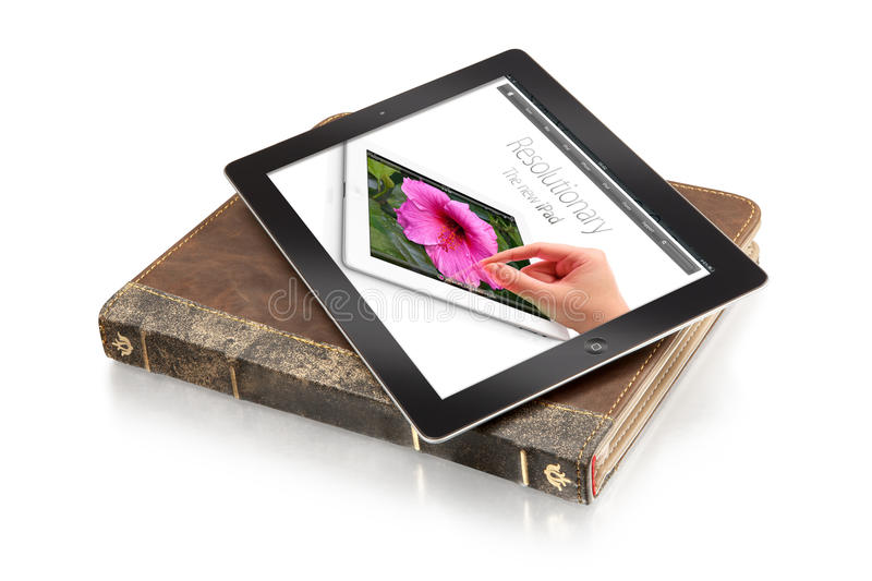 Ipad on leather case - clipping path stock images