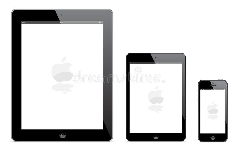 IPad 4, ny iPadkortkort och iPhone 5 stock illustrationer
