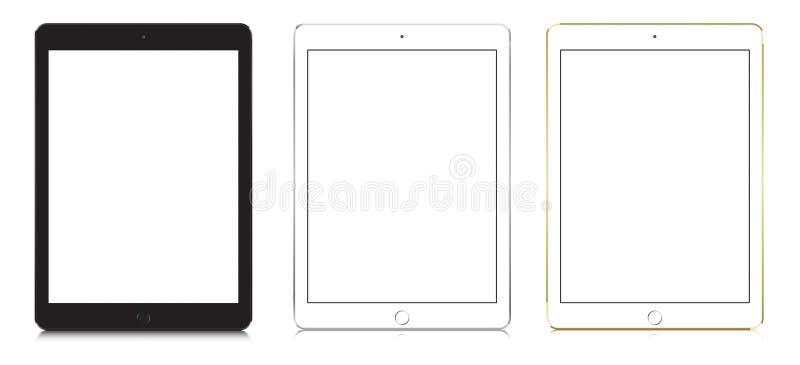IPad powietrze 2 w czerni, bielu i złocistym kolorze, royalty ilustracja