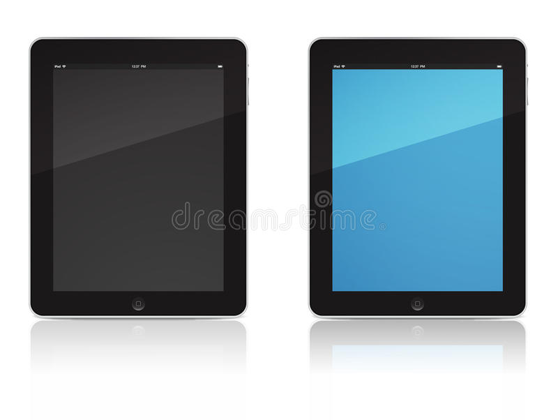 IPad vector. Apple iPad. Two tablet devices one with screen on and second with screen off. Can be used for any editorial purposes, commercials or selling posters royalty free illustration
