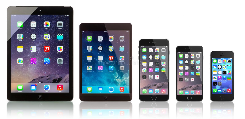IPadlucht, iPad Mini, iPhone 6 plus, iPhone 6 en iPhone 5s stock afbeelding