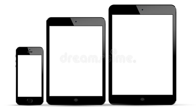 IPadlucht, nieuwe iPad Mini en iPhone 5s vector illustratie