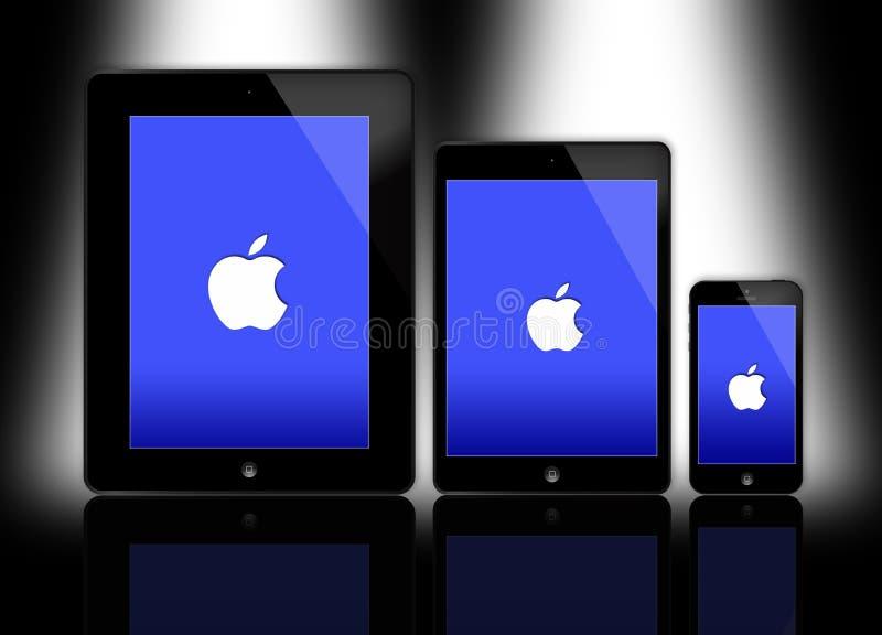 新的苹果计算机iPad和iPhone 皇族释放例证