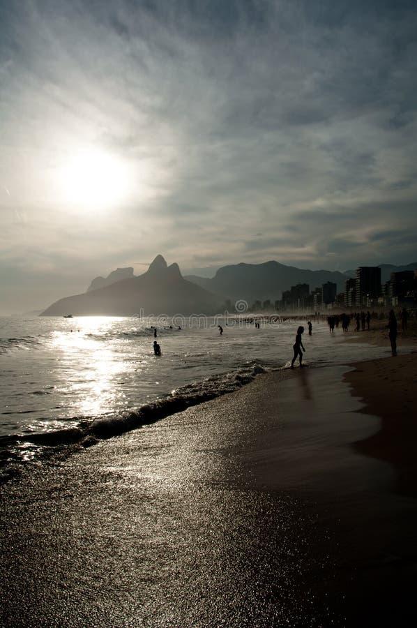 Sunset on Ipanema Beach in Rio de Janeiro stock images