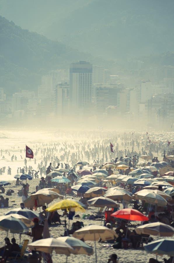 Ipanema Beach Rio de Janeiro Brazil Busy Day royalty free stock photography