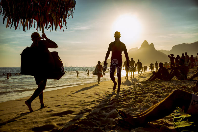 Ipanema Beach Rio de Janeiro Brazil Sunset Silhouettes stock photography