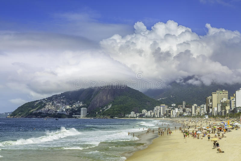 Ipanema beach on suuny day, Rio de Janeiro royalty free stock image
