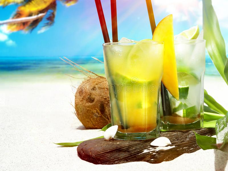 Ipanema - Non alcoholic Cocktail on the Beach. Ipanema - Non alcoholic Cocktail on a sunny Beach stock images