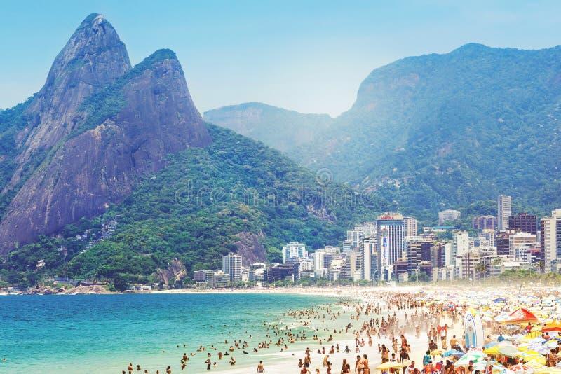 Ipanema plaża w Rio De Janeiro, Brazylia fotografia stock