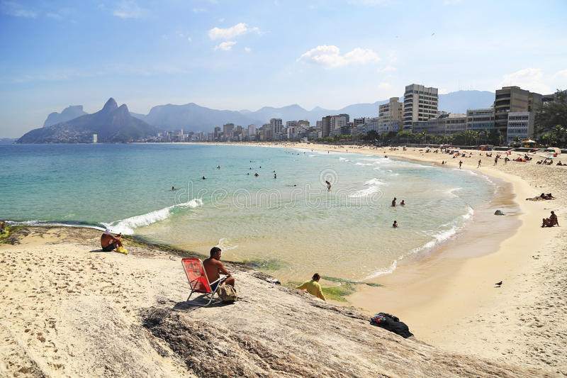 Ipanema strand i Rio de Janeiro, Brasilien royaltyfri fotografi