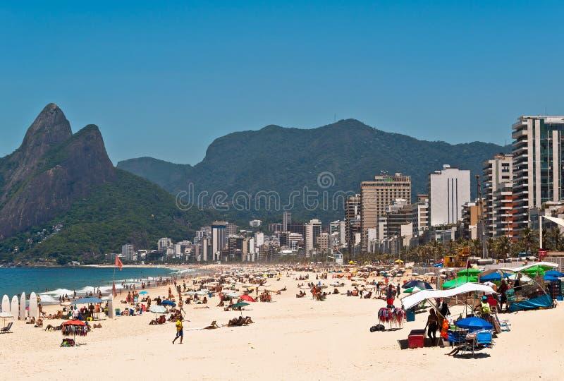 Ipanema strand på Sunny Summer Day arkivfoton