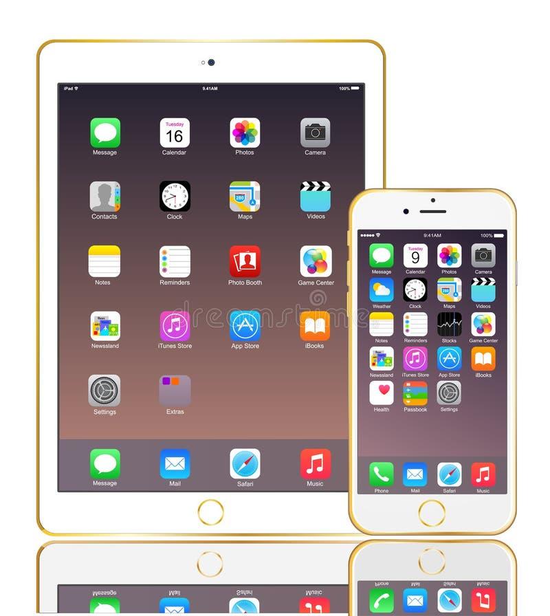 Iphoe 6 en IPad-lucht 2 goud stock illustratie