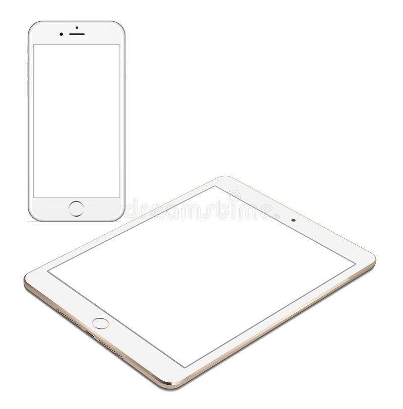 Iphoe 6 and IPad air 2 imac stock illustration