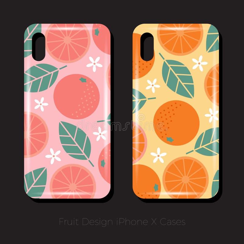 iPhone的x盖子 葡萄柚的水多的果子样式与叶子和花的 与叶子和花的橙色样式 库存例证