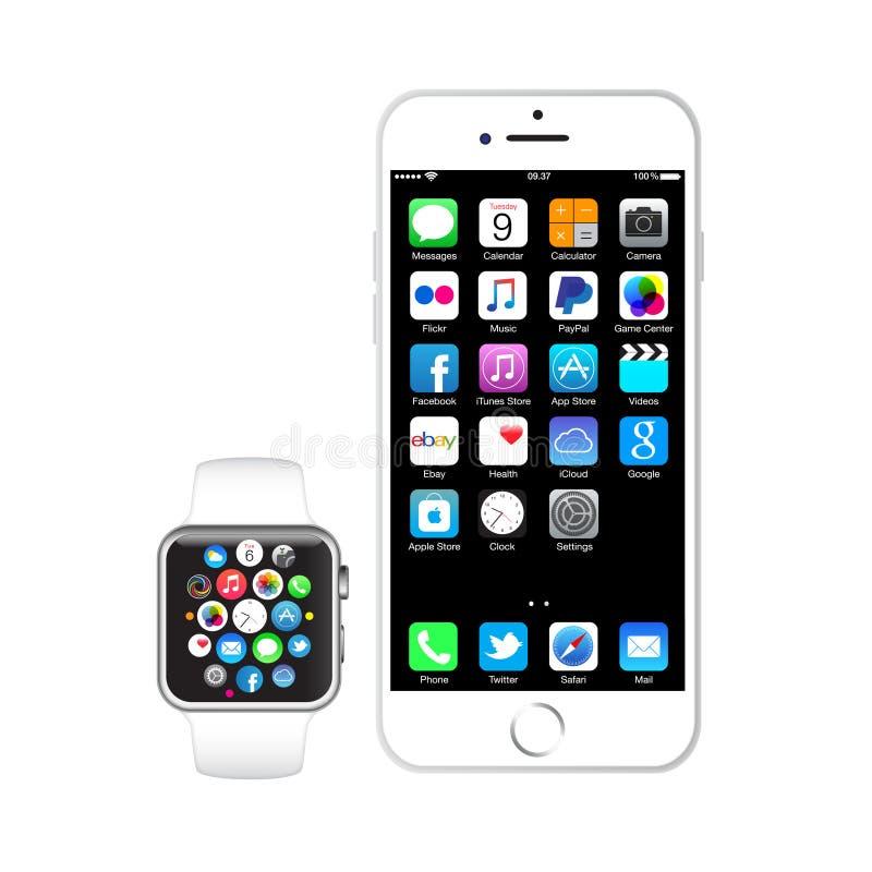 iPhone 6 και ρολόι μήλων ελεύθερη απεικόνιση δικαιώματος
