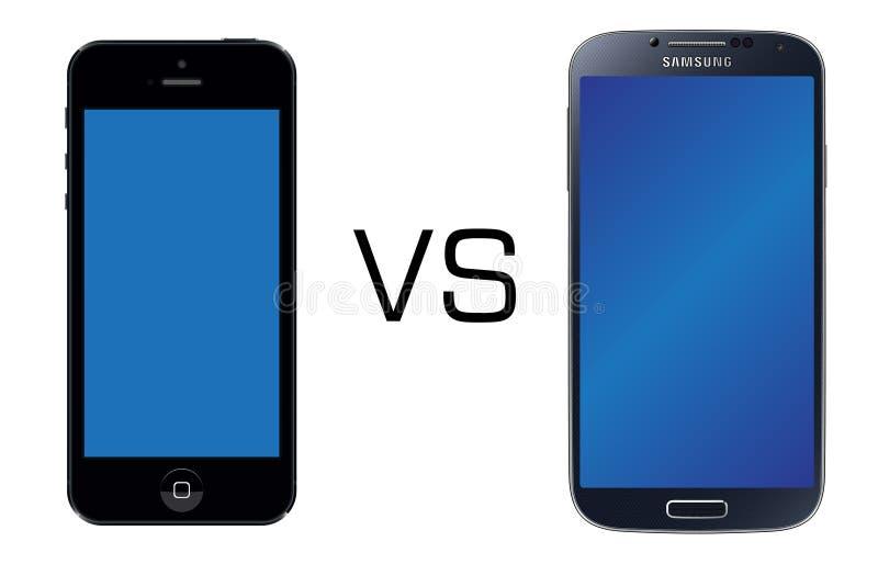 Iphone 5 ο Μαύρος εναντίον του Μαύρου γαλαξιών της Samsung S4 απεικόνιση αποθεμάτων
