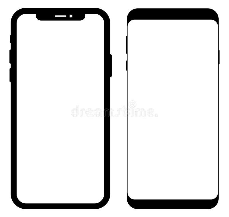 iPhone x и примечание 9 Samsung иллюстрация вектора