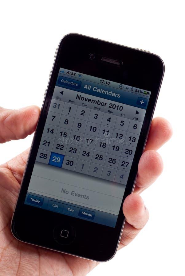 iphone календара 4 яблок стоковая фотография rf
