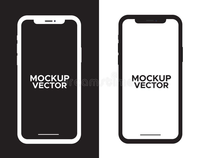 Iphone модель-макета черно-белое с пустым экраном иллюстрация штока