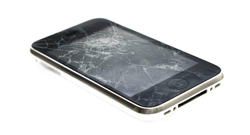 iPhone Яблока с сломленным экраном стоковые фото