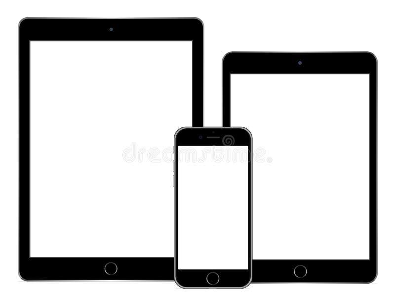 Iphone 6正IPad空气2和iPad微型3 库存例证