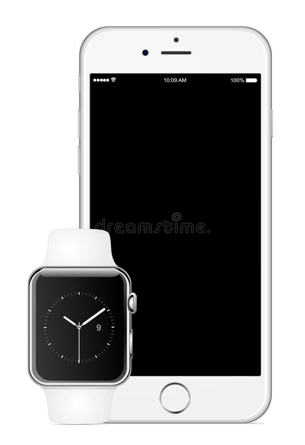 Iphone 6苹果计算机手表 皇族释放例证