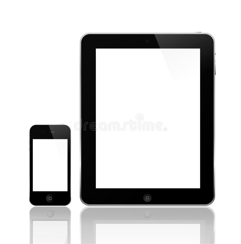 iPhone 4 de Apple e iPad 2 ilustração royalty free