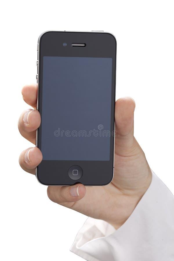 iPhone 4 de fixation avec l'écran initial de rétine photos stock