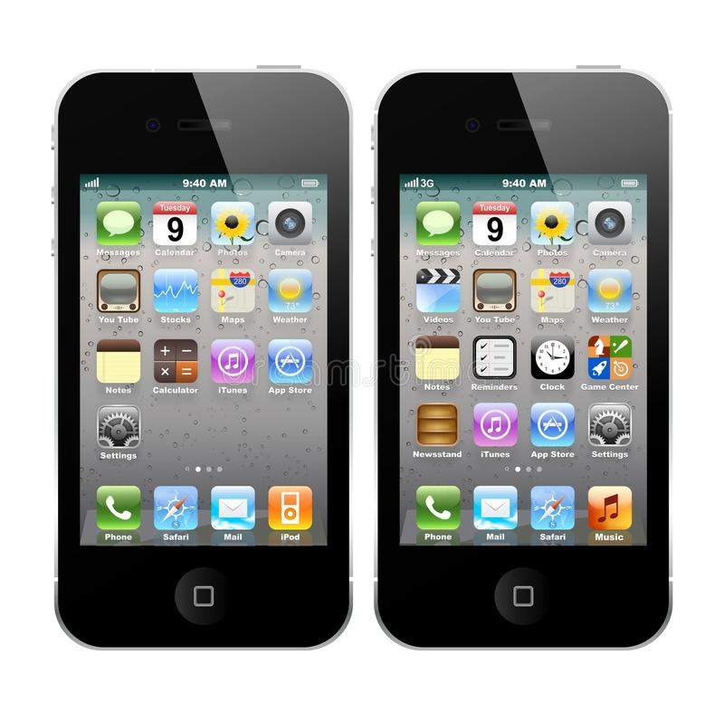 IPhone 4 en iPhone 4S vector illustratie