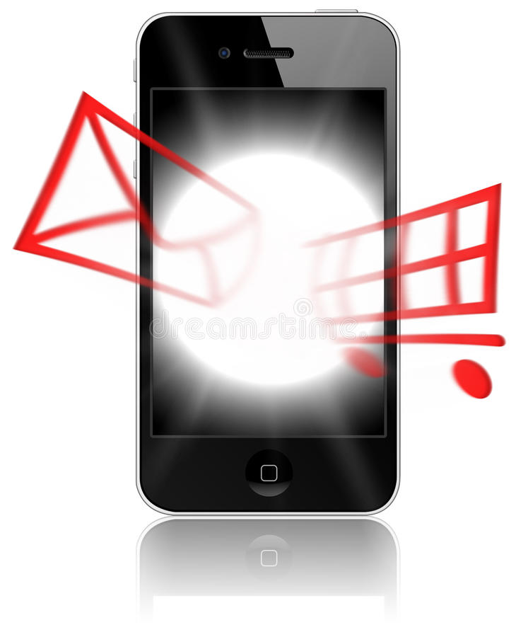 IPhone 4: Potenza portatile per l'operaio in linea illustrazione vettoriale