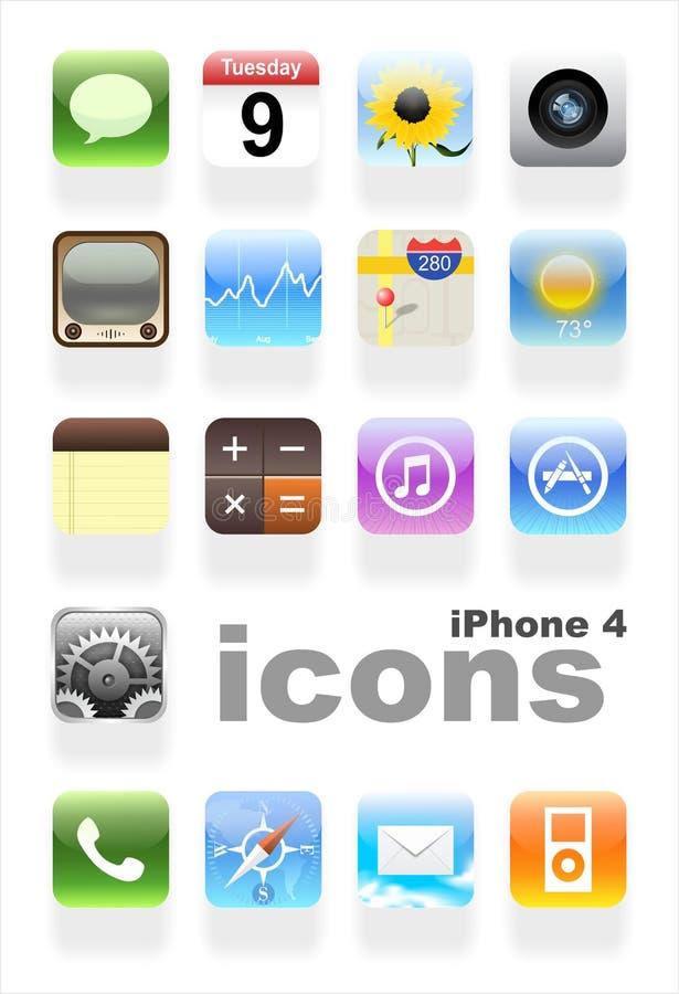 IPhone 4 symboler   royaltyfri illustrationer
