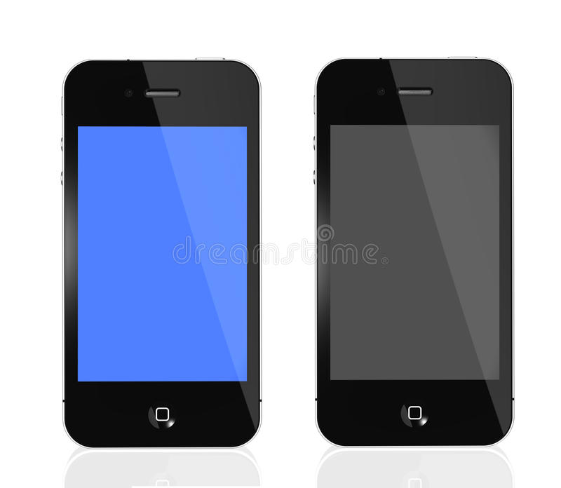 IPhone 4s blue and black screen. Two black iPhone 4s with blue and black screen isolated on white