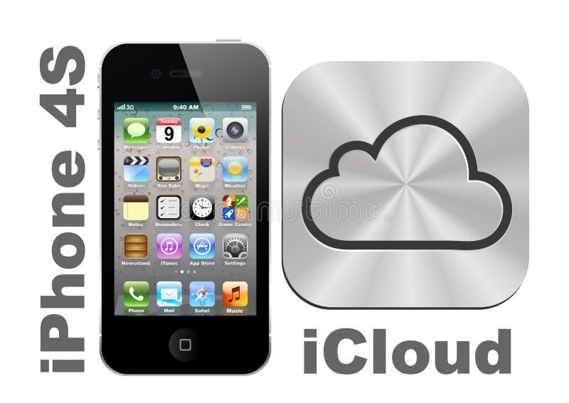 IPhone 4S + iCloud vector illustratie