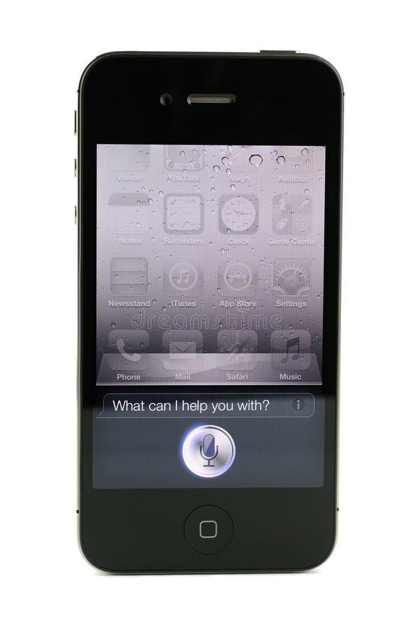iPhone 4s Siri μήλων στοκ εικόνες
