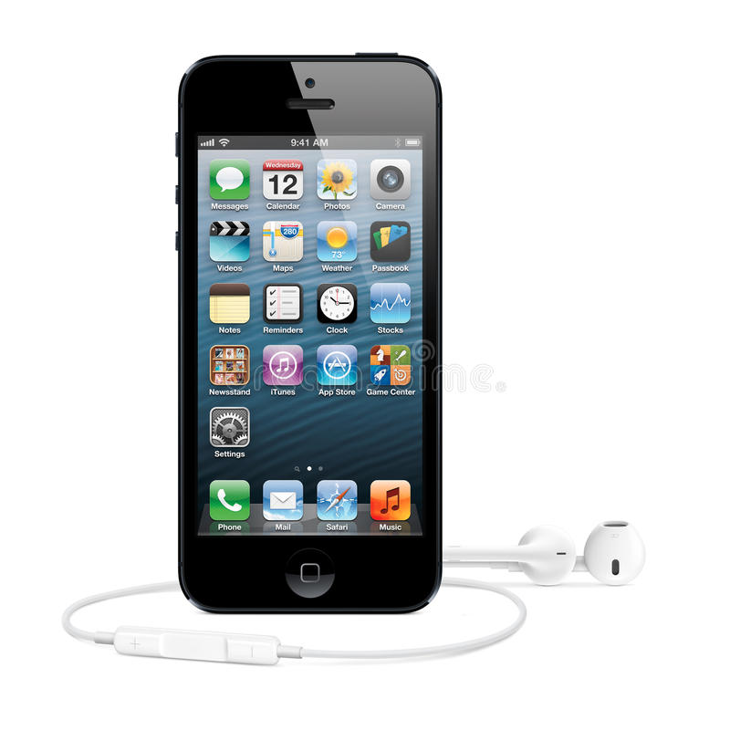 IPhone 5. New Apple iPhone 5 with earphone