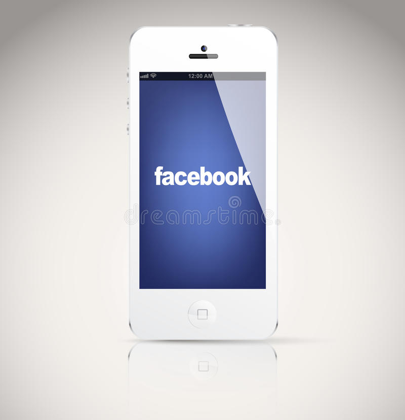 Iphone 5 device, showing the Facebook logo. stock illustration