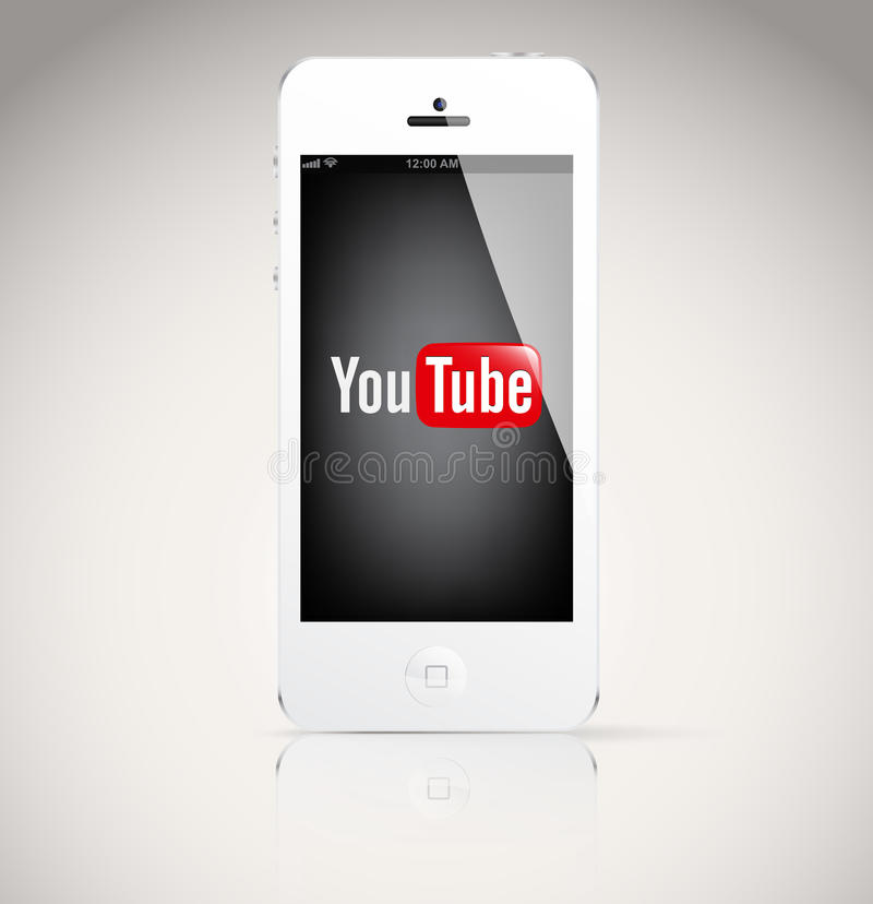 Iphone 5 device, showing the YouTube logo. Bucharest, Romania - February 06, 2014: Iphone 5 device, showing the YouTube logo.YouTube is a video-sharing website